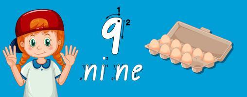 Meisje dat toont hoe te om nummer negen te schrijven
