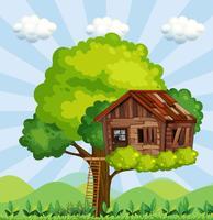 Scène met treehouse in het park vector