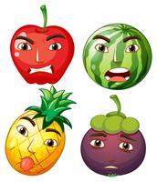 Verschillende vruchten met gezichtsemoties vector