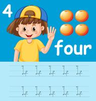 Hoe nummer vier werkblad te schrijven vector