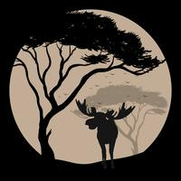 Silhouetscène met Amerikaanse elanden bij fullmoon nacht