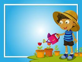 Grensmalplaatje met jongen het water geven bloemen
