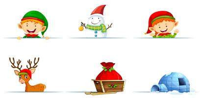 Kerstmiskarakters en slee op witte achtergrond