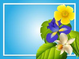 Grensmalplaatje met kleurrijke bloemen in tuin