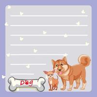 Papiersjabloon met twee honden en botten vector
