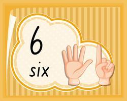 Nummer zes handgebaar vector