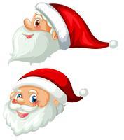 Voorkant en zijkant van het hoofd van de kerstman vector