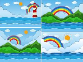 Prachtige natuur en kleurrijke regenboog vector