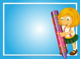 Grensmalplaatje met meisje en kleurpotlood