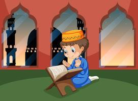 Een moslimjongensstudie in de moskee vector