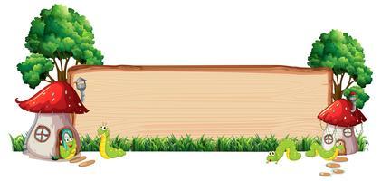 Paddestoelenhuis op houten raad