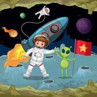 Astronauten en buitenaards wezen hand in hand in de ruimte