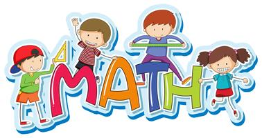 Lettertype ontwerp voor woord wiskunde met gelukkige kinderen vector