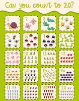 Math werkblad ontwerp voor het tellen tot twintig