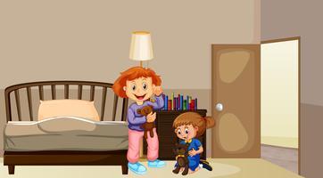 Twee meisjes in de slaapkamer vector