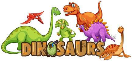 Woordontwerp voor dinosaurussen vector