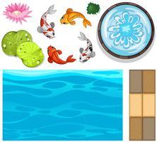 Waterachtergrond met vissen en lotusbloem