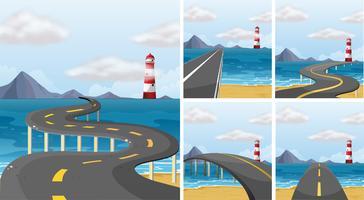 Vijf scènes van weg over de oceaan