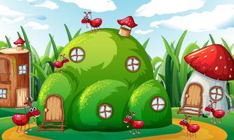 Familie van mieren die in mierheuvels spelen