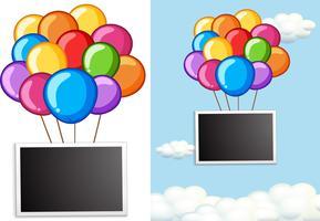 Grensmalplaatje met kleurrijke ballons in hemel