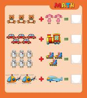 Worksheet-sjabloon voor toevoegen met afbeeldingen