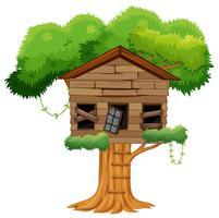 Oud gebroken boomhuis vector