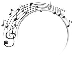 Muziek notities op schaal