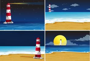 Vier achtergrondtaferelen met vuurtoren in de oceaan