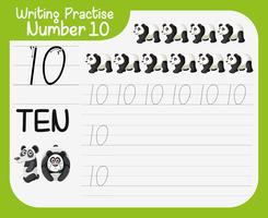 Hoe nummer tien werkblad te schrijven vector