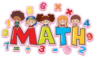 Lettertype ontwerp voor woord wiskunde met gelukkige kinderen