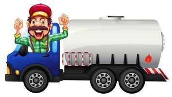 Een tankwagen en chauffeur