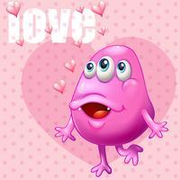 Romantische achtergrond met roze monster en woordliefde