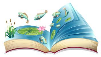 Vissen in het vijver open boek vector