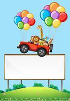 leeg bord met dieren in een zwevende auto