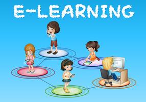 Meisjes en e-learning pictogram