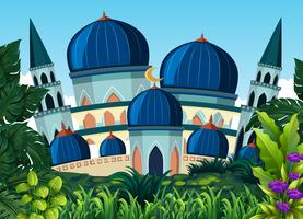 Een mooie blauwe moskee vector
