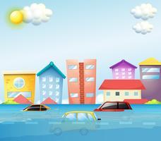 Een overstroming in de grote stad vector