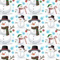 Kerstmissneeuwman naadloos patroon vector