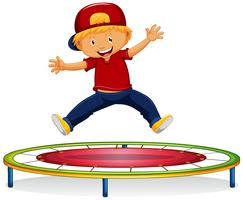 Gelukkige jongen die op trampoline springt vector