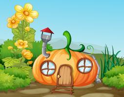 Betoverde pompoen huis in de natuur