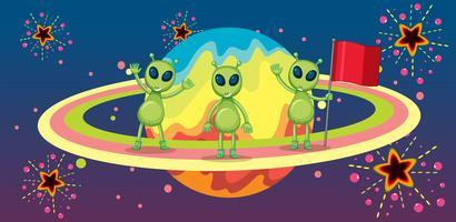 Drie aliens op de nieuwe planeet vector