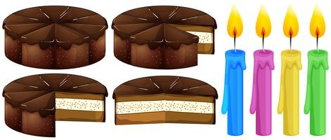Chocoladecake en kaarsen vector