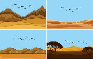Een reeks van woestijnlandschap vector