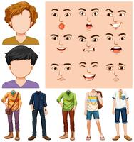 Set van jonge man met verschillende gezichtsuitdrukkingen vector