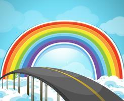 Snelweg en regenboog in de lucht
