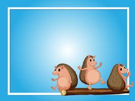 Kadersjabloon met drie egels vector