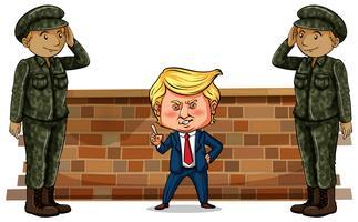 Amerikaanse president Trump en twee soldaten