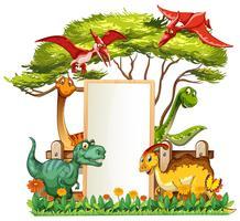 Bannermalplaatje met vele dinosaurussen in tuin