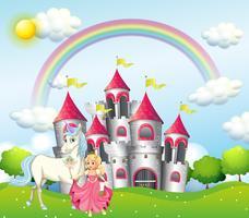 Achtergrondscène met prinses en eenhoorn bij roze kasteel vector