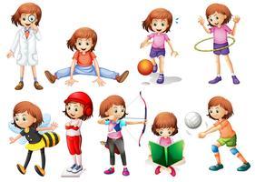 Set van meisje activiteit